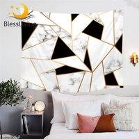 BlessLiving Geometrische Dekorative Wand Hängen Schwarz und Weiß Wand Teppich Unregelmäßigen Marmor Tapisserie Stilvolle Tagesdecken Dropship|Wandteppich|   -