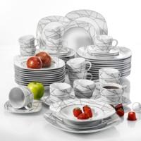 VEWEET SERENA 60 Stuk Keuken Porselein Keramische Diner Set van Kopjes Schotels Dessert Borden Soep Platen Borden Bestek set