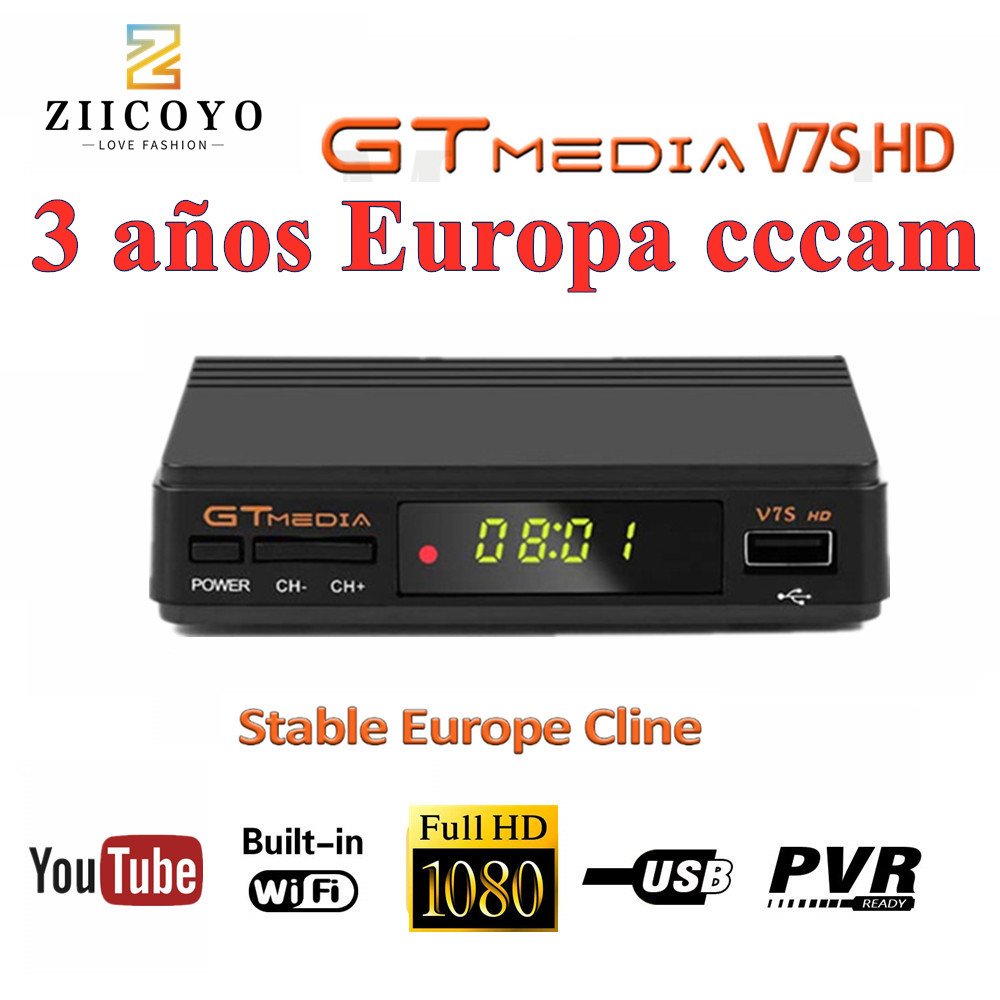 Freesat V7 Hd Satellite Receiver Gtmedia V7s Decoder Free Europe Cline For 3 Year  CCCAM 1080P HD Spain Portugal Poland Channels