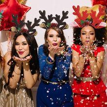 Łoś bożonarodzeniowy jelenie rogi z pałąkiem na głowę poroża reniferów opaski do włosów kostium na przyjęcie bożonarodzeniowe dostaw cekiny dekor w kształcie drzewa tanie tanio CN (pochodzenie) Cloth Christmas Headband Christmas Party Elk Deer Sequin Tree Decor
