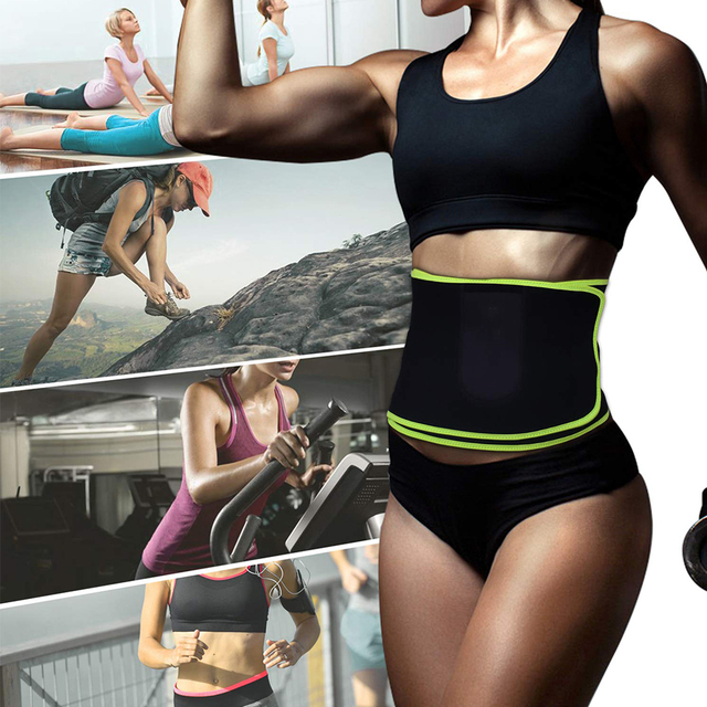 Women Men Exercise Belt Sweat Wrap With Pocket Abdominal Trainer Flexible Black Workout Protective Supporting Waist Trimmer 1