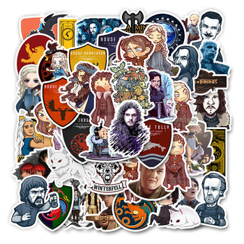 50pcs Cartoon Stickers Game of Thrones Stickers for Luggage Car Laptop Notebook Decal Fridge Skateboard Sticker Sticker bevle a0040 famous logo laptop luggage skateboard graffiti notebook motor stickers decal fridge waterproof sticker for cars