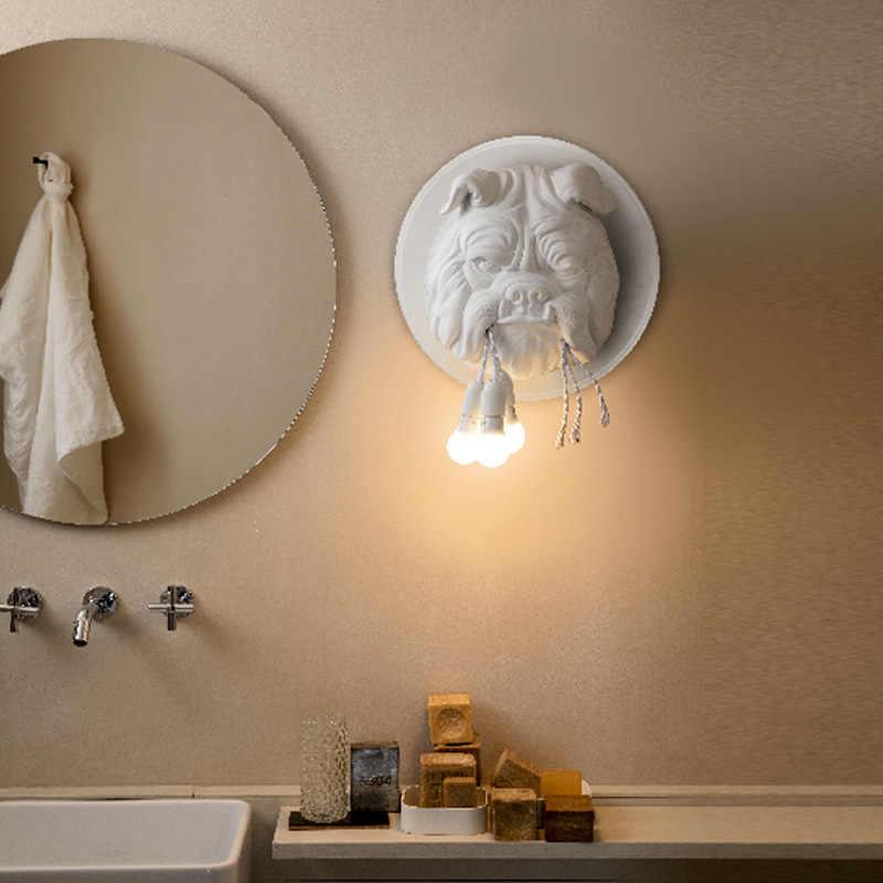 الحيوان وحدة إضاءة LED جداريّة الشمعدان 110-240 فولت الحديثة الكرتون الكلب اللوحة الجدار أضواء أسود أبيض لغرفة المعيشة تركيبات الديكور مصباح