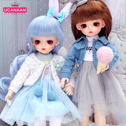 UCanaan 1/6 BJD Doll 30CM 18 Ball Joints Dolls With Full Outfits Clothes Set Wig Makeup Handmade Beauty Toy Gifts For Girls