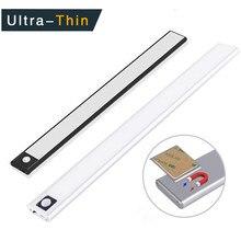 Luz de inducción inteligente Ultra delgada, luz LED para armario de carga USB de adsorción magnética, 20 40 60 80cm