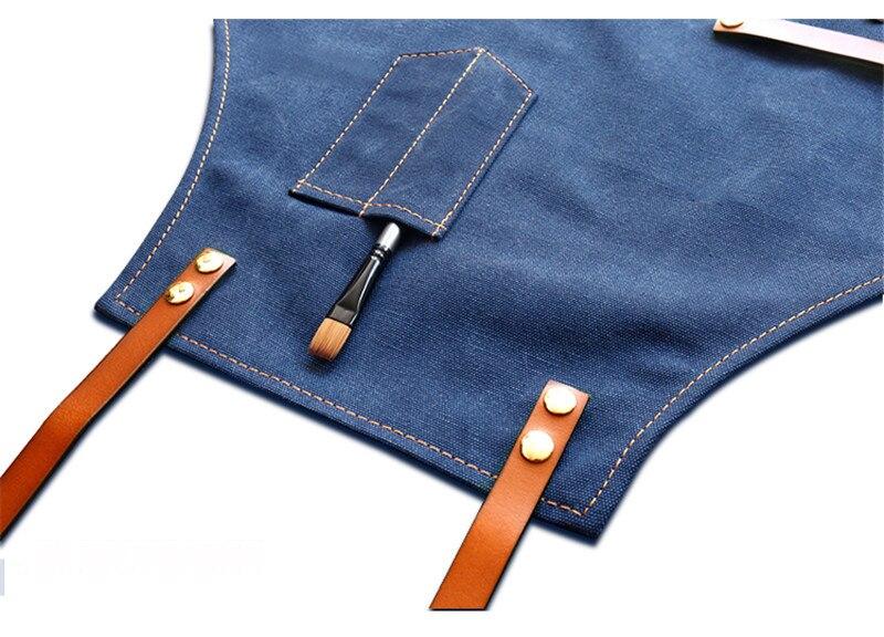 Джинсовый Кухонный Фартук с регулируемым хлопковым ремнем, большие карманы, синий бариста, мужская и женская домашняя одежда - 5