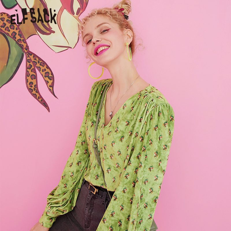 ELF SACK V Neck Carton Print Velvet Crop Top Blouse Shirt Womens Clothing 2019 Autumn Green Korean Vintage Ladies Blouses