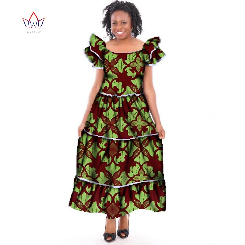 Summer Dress Dashiki Casual Date African Long Dresses For Women Bazin Riche Plus Size Party Dress For Femme WY253