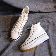 Female White Canvas Shoes Women Platform Sneakers Fashion Br