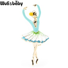 Wuli&baby Blue Pink Ballet Dancing Girl Brooches Women Alloy Gymnastics Sporting Team Brooch Pins Gifts