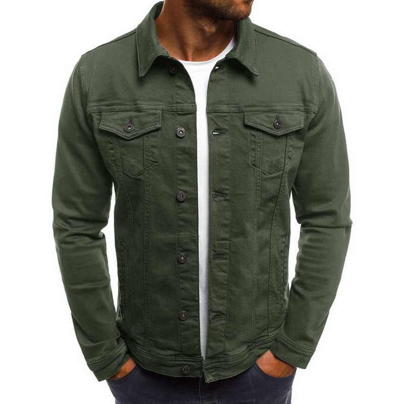 2020 sólido Jeans chaquetas abrigos de los hombres de moda Otoño Slim chaquetas para hombre abrigo Casual de mezclilla Turn-down Collar Streetwear