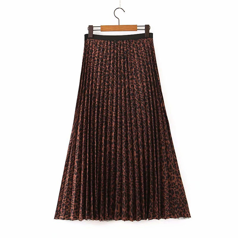 Women Leopard Print Pleated Skirt Elastic Waist Animal Pattern Basic Female Stylish Wild Ankle Length Skirts