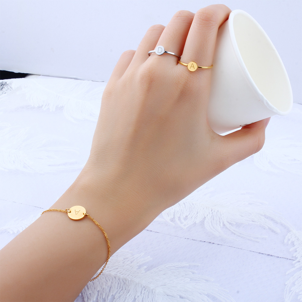 Stainless Steel Letter bracelets&bangles For Women Wholesale bracelet dropshipping Chain Link accessories couple gold silver 4
