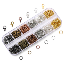 A Set Jewelry Findings 4mm/5mm/6mm/8mm/10mm Open Jump Rings Split Rings 6 colors Lobster Clasps hooks Jewelry Making Supplies