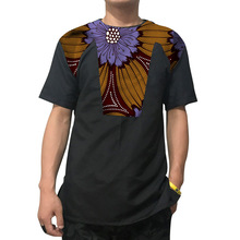 African Fashion Print Tops Men Short Sleeve Shirt Black/Wax Tees Patchwork Dashiki Custom Made Africa Style Mens Clothing