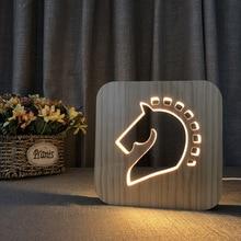 Wooden Lamp 3d Bedside Original Horse Decorative Usb Led Gift