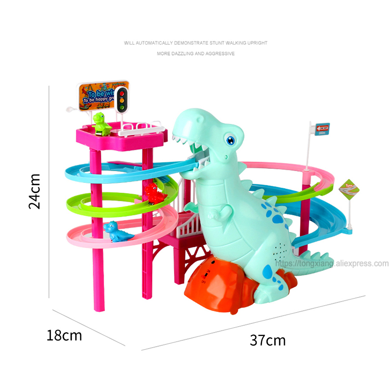 Brand New Electric Slide Railcar Track toy 3-6 years old Dinosaur climb stairs music light play interactive educational toys 6