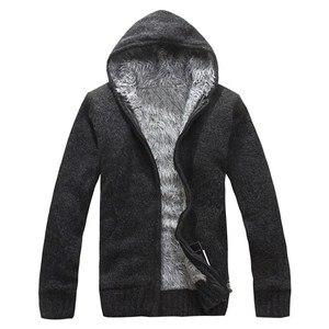 Image 5 - Manteau en pull épais pour hommes, vêtement dextérieur en laine polaire, col en cachemire, collection pull avec fermeture à glissière, automne et hiver