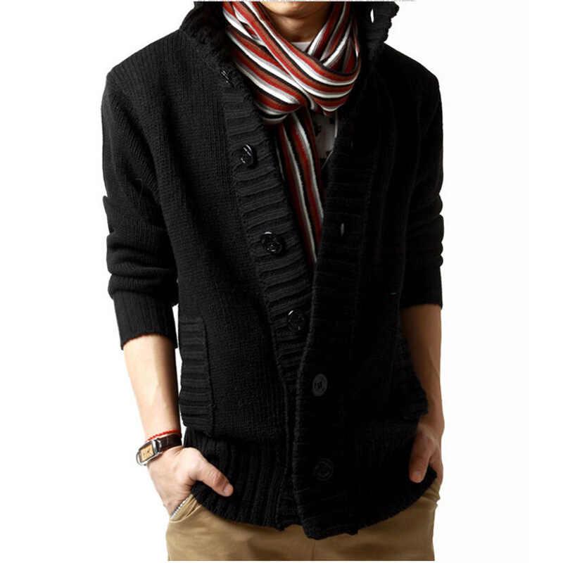 빈티지 카디건 스웨터 코트 남자 가을 옴므 솔리드 스웨터 캐주얼 따뜻한 뜨개질 점퍼 스웨터 남성 옷 깃 단추 풀 오버