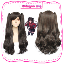Ebingoo Fate Stay Night Tohsaka Rin Wig Fate Grand Order Synthetic Cosplay Wig Black Long Straight Wig with Clip Double Ponytail annie black fate s tricky methods