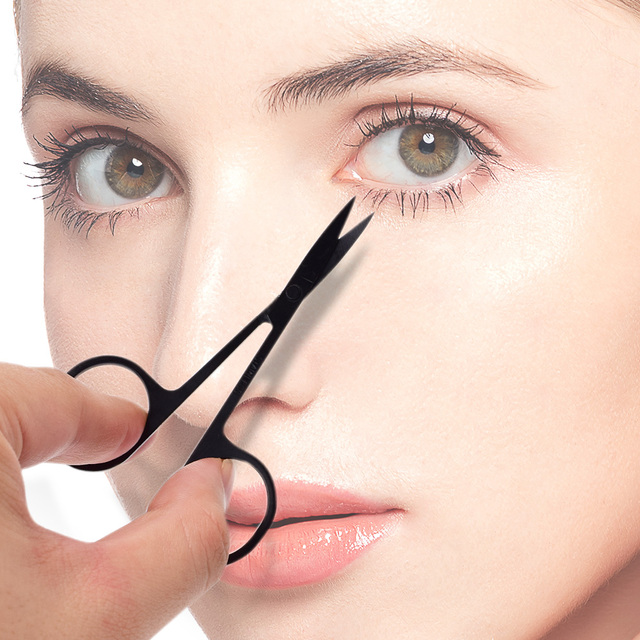 Professional Scissor Manicure For Nails Eyebrow Nose Eyelash Cuticle Scissors Curved Pedicure Makeup Tool 1