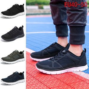 Image 1 - 2020ใหม่ชายรองเท้าSuper Light Breathableตาข่ายรองเท้าผ้าใบManเดินสบายรองเท้าLace Upรองเท้าสีดำชาย40 50