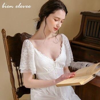 New Sexy Lace Sleepwear Night Dress Lingerie Short Sleeve Women Nightwear Sexy Underwear Nightdress Vintage Home Dress lace panel lantern sleeve nightdress