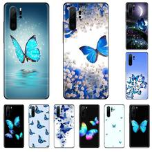 Cute butterfly blue Soft black Phone Case For Huawei P9 P10 P20 P30 Pro Lite smart Mate 10 Lite 20 Y5 Y6 Y7 2018 2019 starry sky space moons volcano soft black phone case for huawei p9 p10 p20 p30 pro lite smart mate 10 lite 20 y5 y6 y7 2018 2019