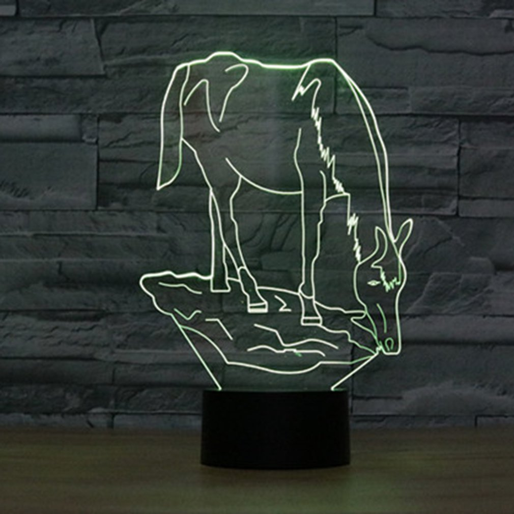 Animal/Girl Shape Touch Table Lamp 7 Colors Changing Desk Lamp 3D Lamp LED Night Light Stereoscopic Illumination Decoration