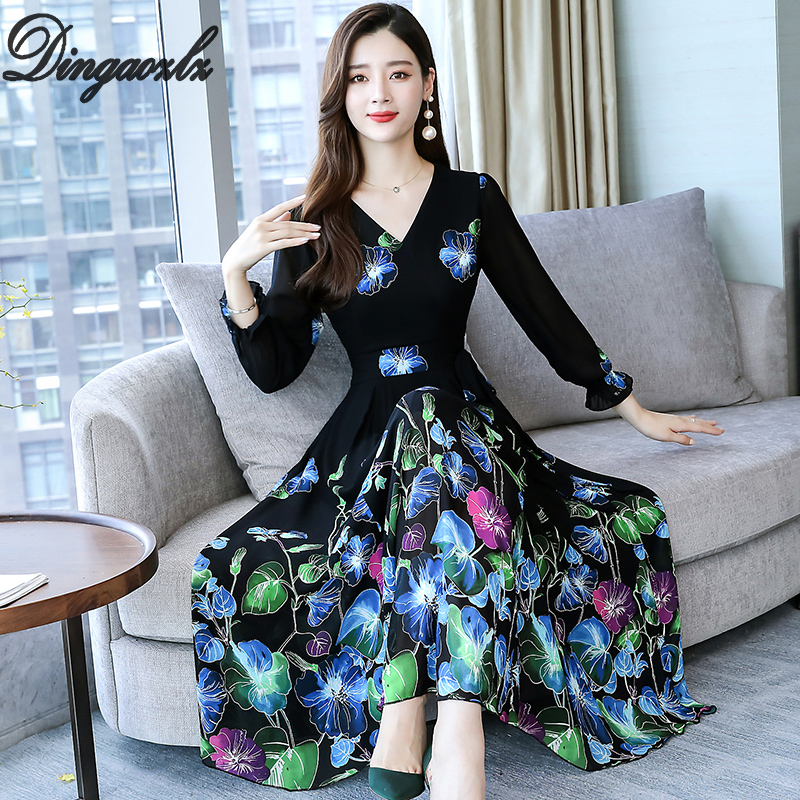 Dingaozlz Plus size Printed Chiffon dress Elegant Party dresses Floral Women Vestidos