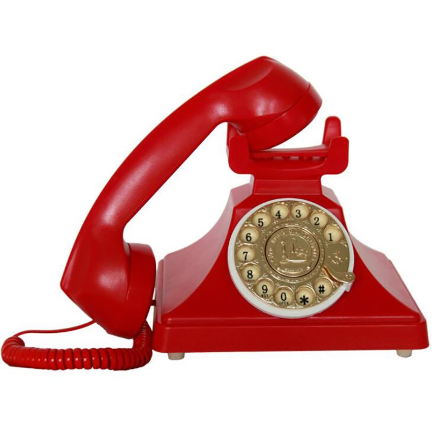 Red Old-Fashioned Rotary Phone Telephone w//Receiver Miniature Dollhouse Gift New