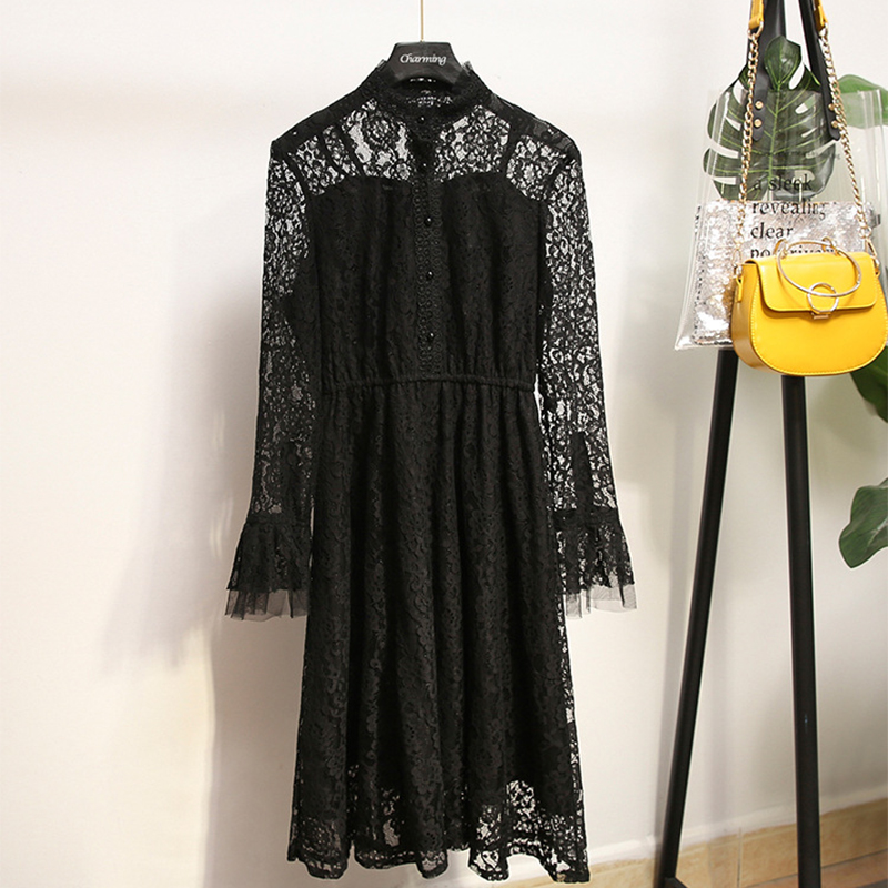 4XL 5XL Plus Size Flare Sleeve Lace Dress Autumn Big Size Loose Casual Dress Elegant Solid Long Sleeve Large Size Party Dress
