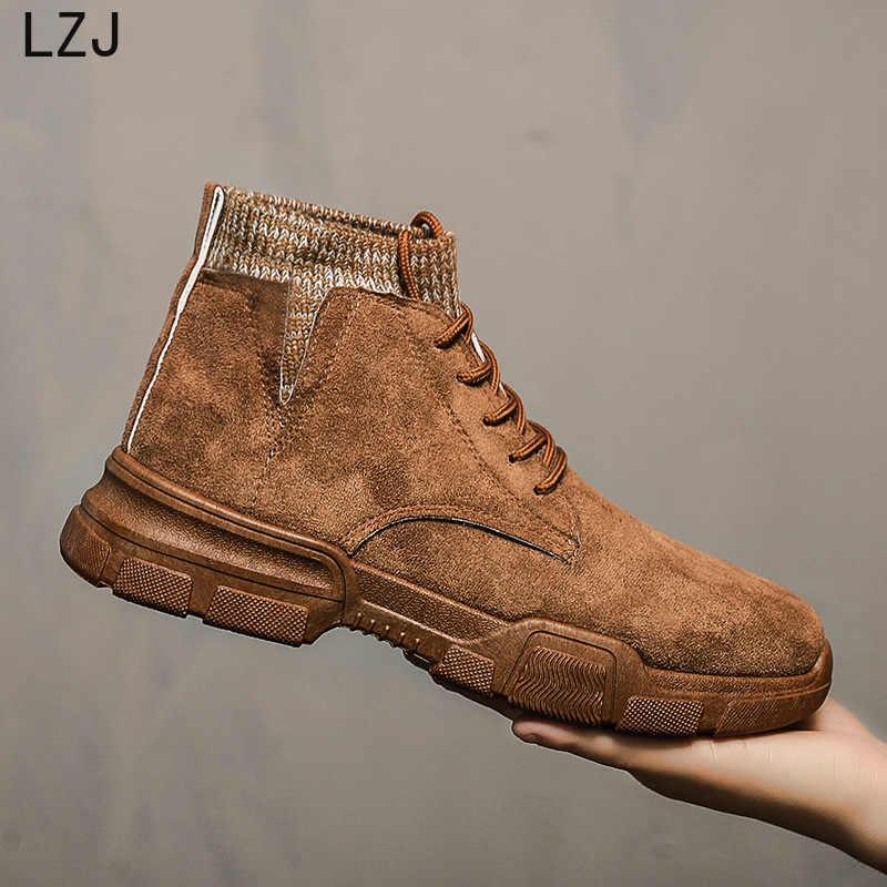 LZJ 2020 Herfst Nieuwe Mannen Laarzen Faux Suede Mannen Winter Laarzen Hoge-top Comfortabele Lace-up Mode Mannen winter Schoenen Werkschoenen