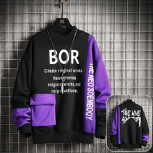 Casual Sweatshirt Men 2020 New Streetwear Hoodies Letter Printing Mens Patchwork Sweatshirts Male O-Neck Top Pullover Tracksuit