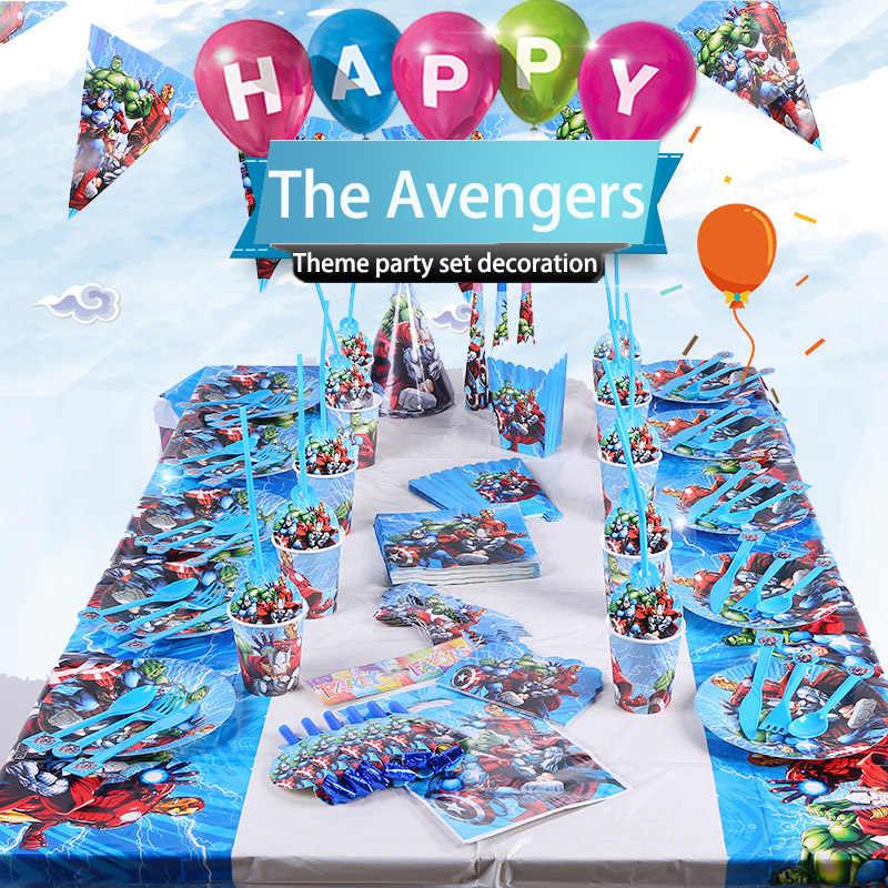 Marvel Мстители супер герой тематическая вечеринка на день рождения украшения Дети День рождения одноразовые партии посуда 2A05