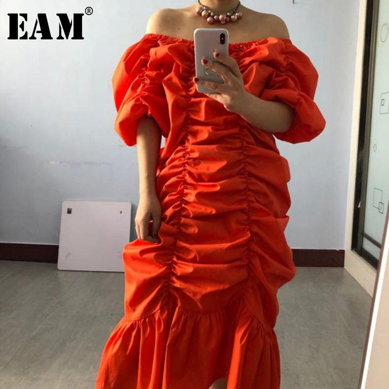 [EAM] Women Orange Pleated Split Joint Big Size Dress New Slash Neck Half Sleeve Loose Fit Fashion Spring Summer 2020 1T2011