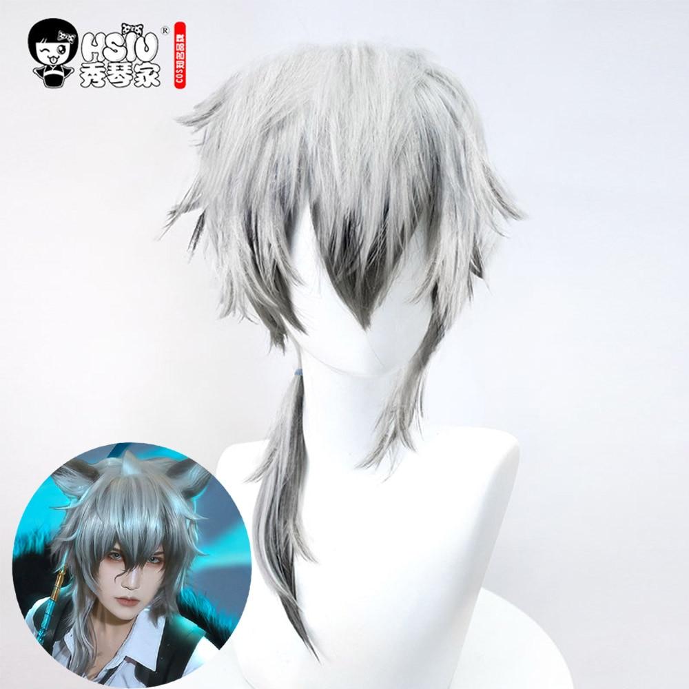 HSIU SilverAsh Cosplay Wig,Game Arknights Wig,Silver White Short Hair,Cosplay Boy Wig,Silver Grey Ear Hair Accessories