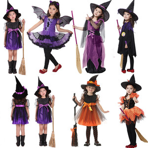 Платье на Хэллоуин для девочек, костюм ведьмы из аниме, карнавальный костюм, карнавал, дети, платье принцессы, обруч для волос, метла, шляпа, н...