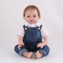 Boy bebe reborn dolls 22inch handmade soft silicone reborn baby dolls newborn infant lifelike children gift toys(China)
