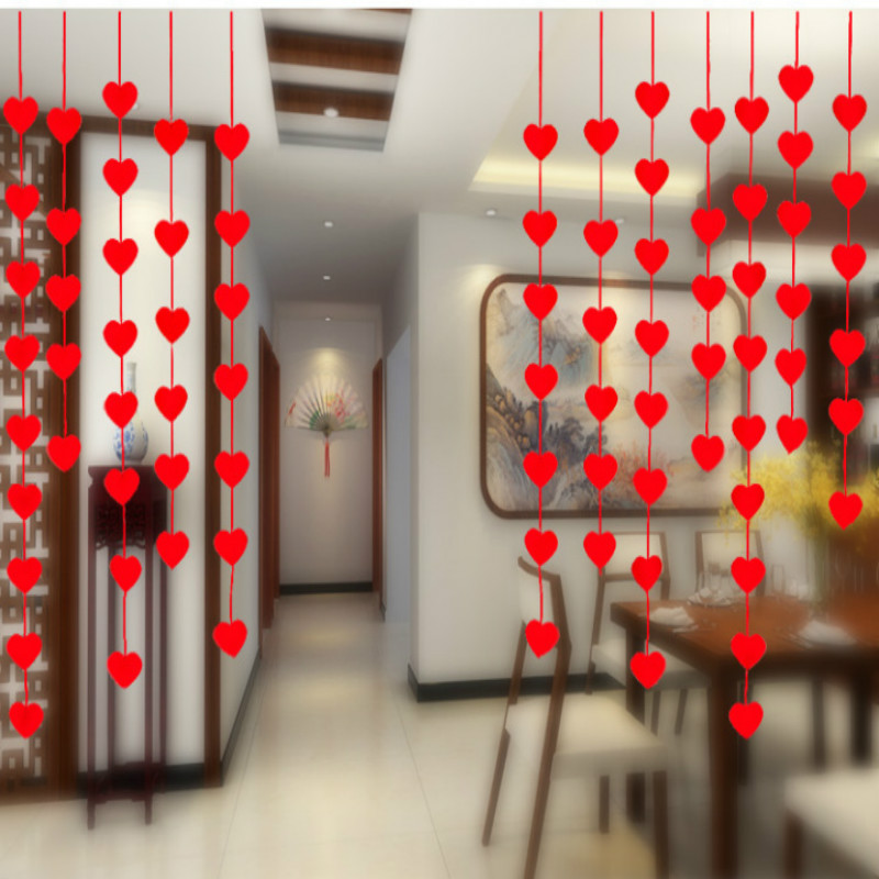 16 red love heart curtain garland flags banner wedding home decoration room decor birthday party supplies bunting 2 5m party 5z