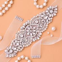 Bridal-Belt Ribbon Sash Wedding-Accessories Rhinestones Crystal Silver Women for Handmade