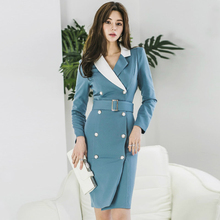 Big Size Double Button OL Office Work Dress for Women Long Sleeve Midi Contrast Blue Dress Women with Sashes Autumn Dress Women