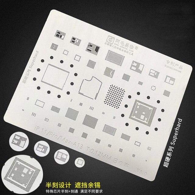 Amaoe BGA Reballing Stencil FOR iPhone 11/Pro/Max BGA Stencil Reball A13 CPU RAM Nand Flash IC Chip Pins Solder Tin Plant Net 1
