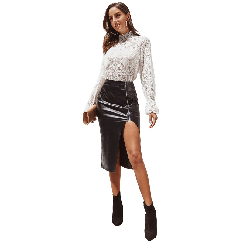 Spring Summer Women Lace Blouses Shirt Female Ruffled Tops Sexy Mesh See-Through Long Sleeve Lady Sweet Elegant Slim Fit blusa