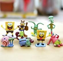Cartoon Spongebob Action Modellen Speelgoed 6/8 Stuks Patrick Star & Squidward Tentacles & Eugene & Sheldon & Gary leuke Mini Pop Voor Kinderen(China)