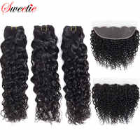 Sweetie Water Wave Bundles With Frontal Closure Brazilian Human Hair Weave 3 Bundles Non Remy Lace Frontal Closure With Bundles
