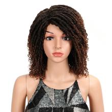 Magiczne włosy miękka krótka peruki syntetyczne dla czarnych kobiet 14 #8222 Cal wysokiej temperatury włókna Dreadlock Ombre Burg szydełka Twist włosów tanie tanio Kręcone HT DIANA Średni brąz Petite Pixie Swiss koronki RCYW-M150920WRP 184-187g 3 COLOR 14 INCH synthetic wig for women