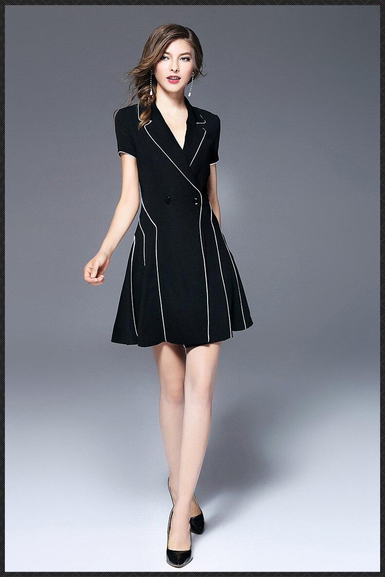 Dress short-sleeved bodyol professional black dress women's summer 2020 new temperament show thin waist A-word dress