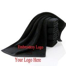綿黒ヘアサロンタオルカスタマイズ刺繍なしフェージングためのバスタオル大男性のビーチタオル企業ギフト