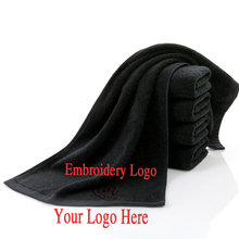 Cotton Black Face Towel for Hair Salon Towel Customized Embroidery No Fading Bath Towels Large Mens Beach Towel Corporate Gift